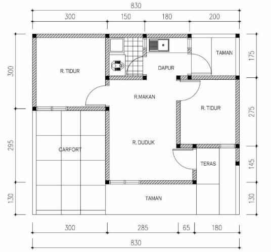 Denah rumah minimalis sederhana 1 lantai 2 kamar