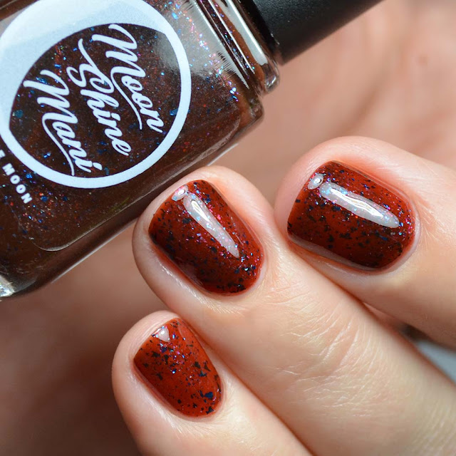 brown jelly nail polish with multichrome flakies