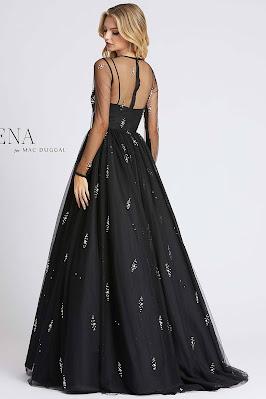 iiiusion long sleeves ieena for Mac Duggal Evening dress Black color Back side