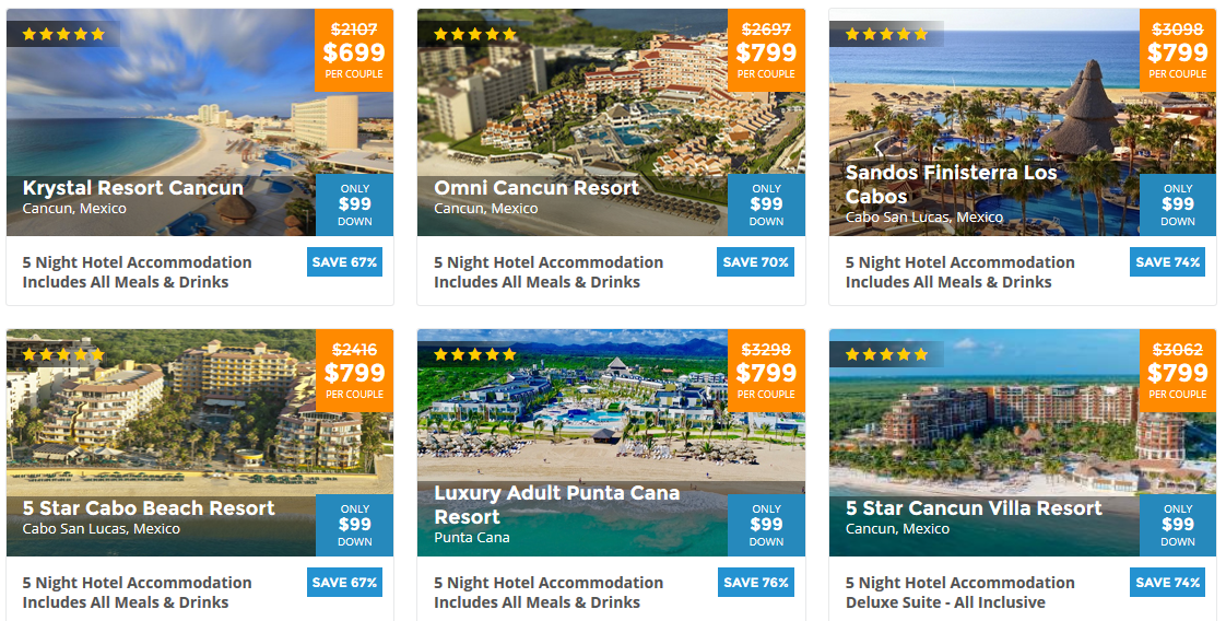 BookVIP, A listing of all current hotel promotional vacation packages