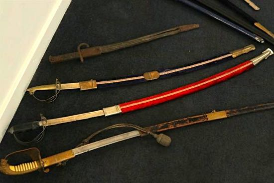 Some of the swords handed in at Hatfield police station Image courtesy of Hertfordshire Constabulary