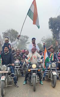 गणतंत्र दिवस पर प्रवीण सिंह विकास  के नेतृत्व में निकली भव्य तिरंगा यात्रा    #NayaSaberaNetwork