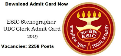 esic exam admit card 2019