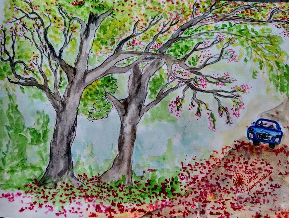 bLOSSOMED hIGHWAY water painting