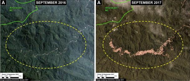 Queste immagini mostrano come l'estrazione illegale dell'oro causa la deforestazione nella zona cuscinetto della riserva comunale di Amarakaeri.