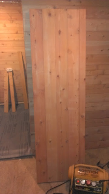Completed custom sauna door.