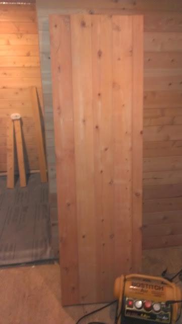Completed custom sauna door.