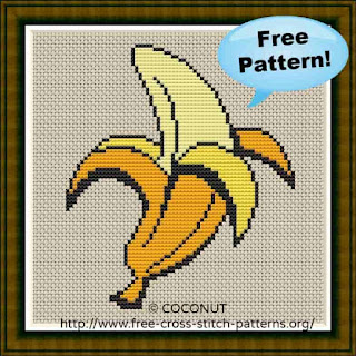 BANANA (2) , FREE AND EASY PRINTABLE CROSS STITCH PATTERN