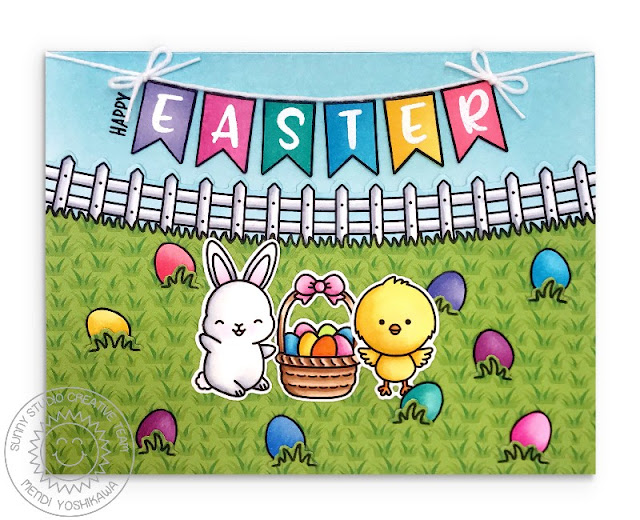 Sunny Studio Blog: Bunny & Chick with Basket and Egg Hunt Happy Easter Banner Card (using Chubby Bunny, Chickie Baby, Banner Basics & Spring Scenes Stamps)