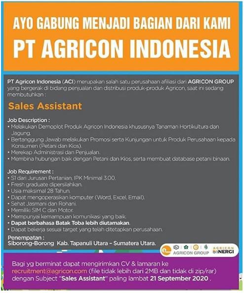 Lowongan Kerja PT Agricon Indonesia September 2020
