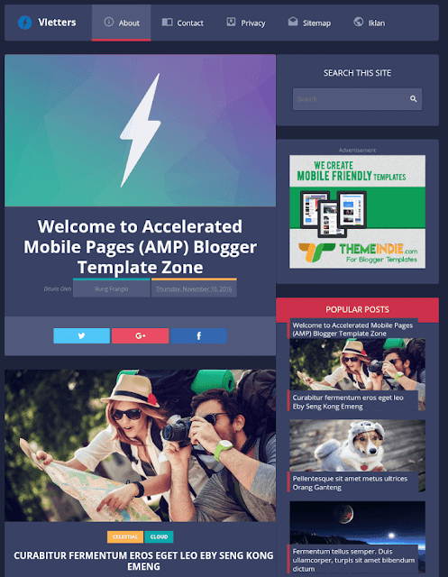 Vletters AMP Blogger theme:5 best AMP Blogger templates to use in 2020