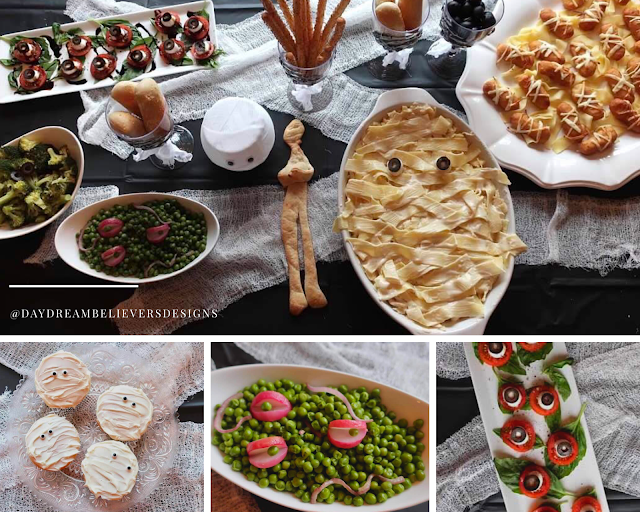 Mummy Theme Halloween Dinner Menu Easy for Kids Mummy Pasta Brushcetta Eyeballs Spooky Veggies