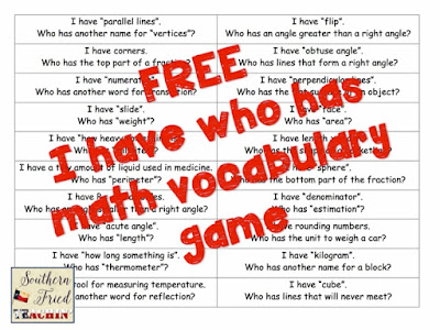 Teachers, your students will beg again and again to play this game....I Have Who Has! You can use it in any subject, and it is a quick and easy review. Click here for a FREE game template and a free math vocabulary game!
