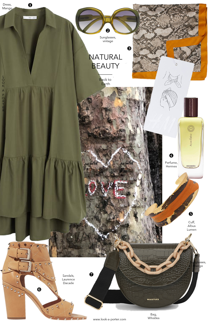 Inspired by the colours of nature, an outfit of olive dress, studded sandals, croc bag and a scarf styled with Mango, Laurence Dacade, H&M, Whistles, vintage Dior and best of high street for look-a-porter.com fashion blog