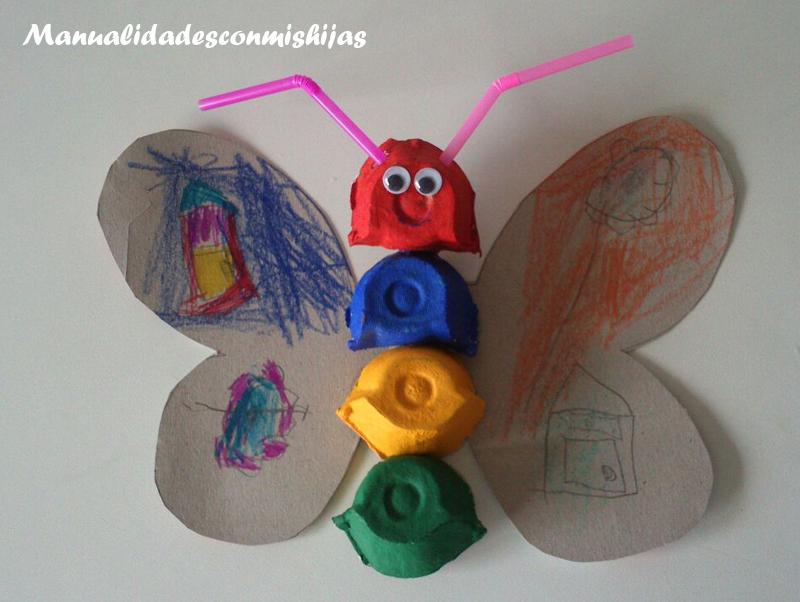 Manualidades Con Mis Hijas Cangrejo Y Mariposa Con Carton De Huevos