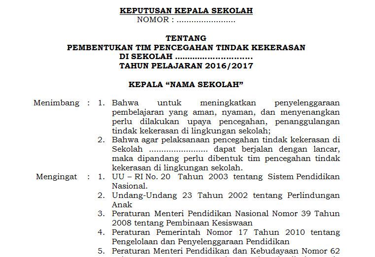 Contoh Surat Keputusan Sk Kepala Sekolah Perihal