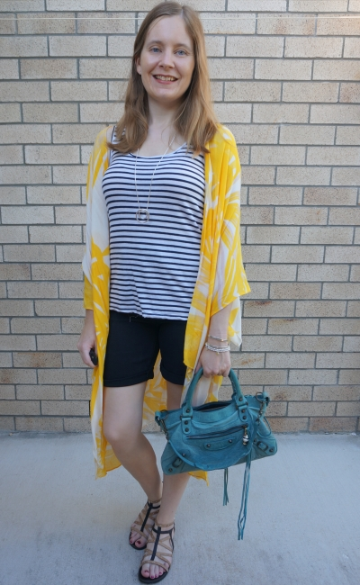Jeanswest Eliza summer poncho in yellow floral with striped tank and black Bermuda denim shorts Balenciaga bag | away from the blue
