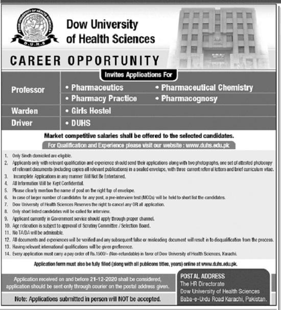 dow-university-of-health-sciences-jobs-2020-apply-online