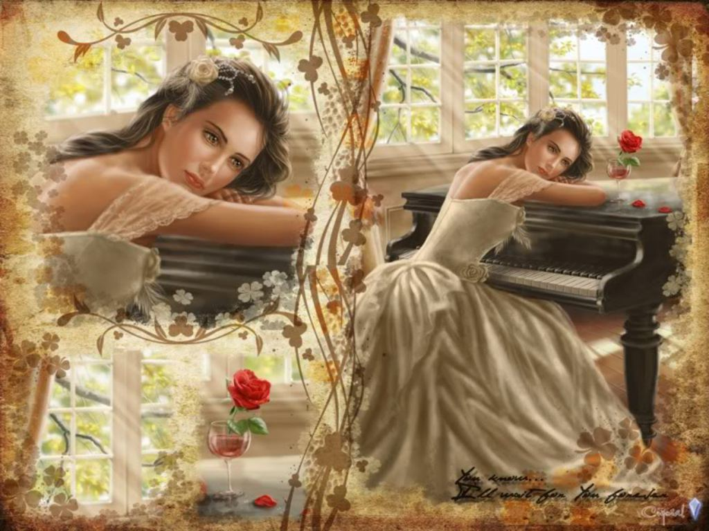 Sad Girl With Red Rose Wallpaper Love Wallpaper Piano