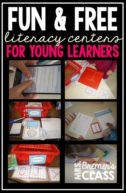 Fun, free literacy work stations for Kindergarten