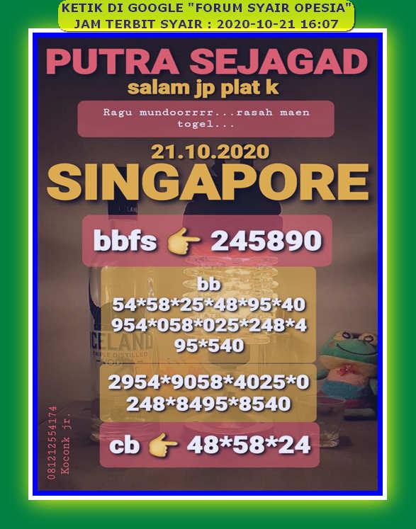 Kode syair Singapore Rabu 21 Oktober 2020 71