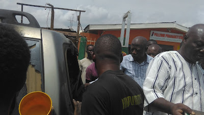 Panic in Oshodi as car catches fire in front of gas shop