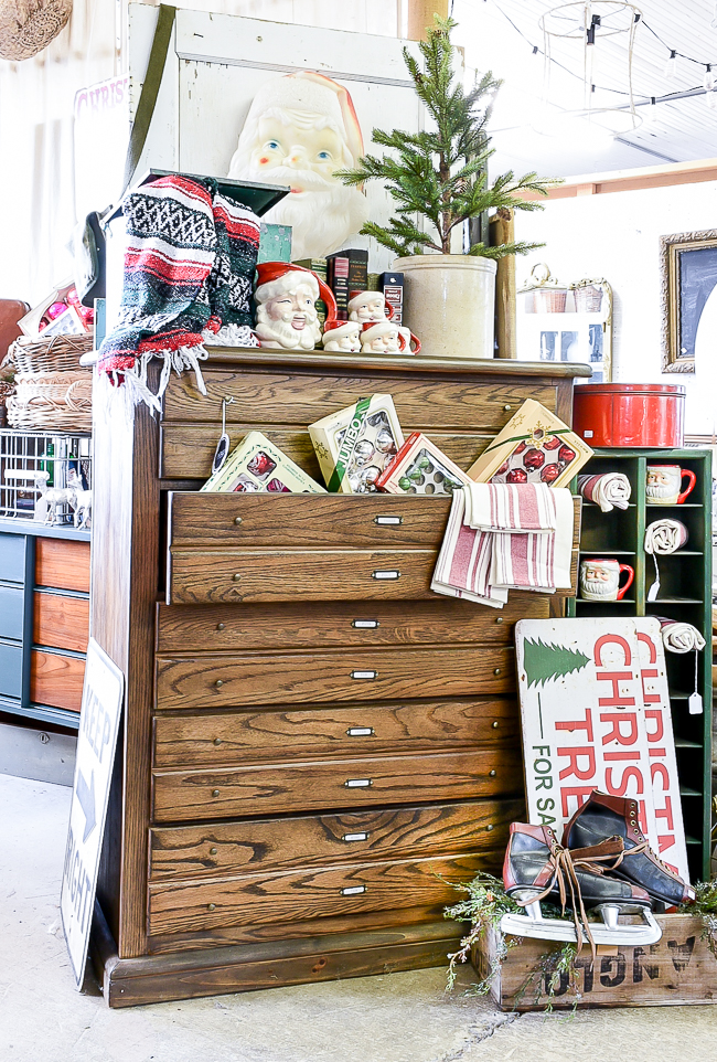 Winter and Christmas vintage booth styling