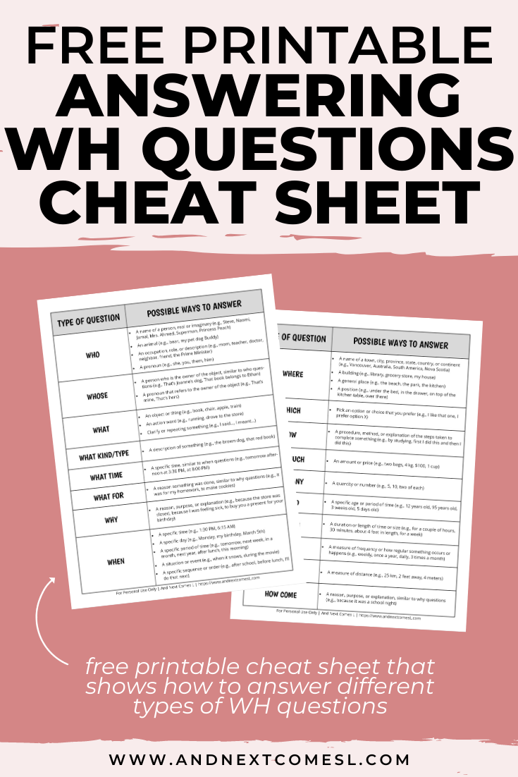 Use this free printable WH questions answers cheat sheet for teaching kids how to answer WH questions