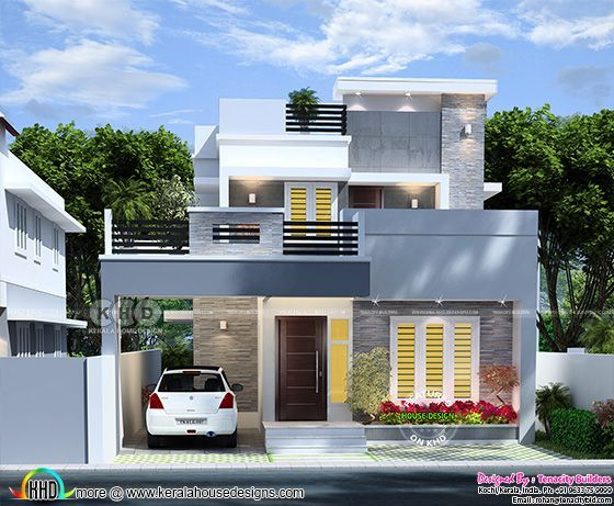 Cute modern home front view