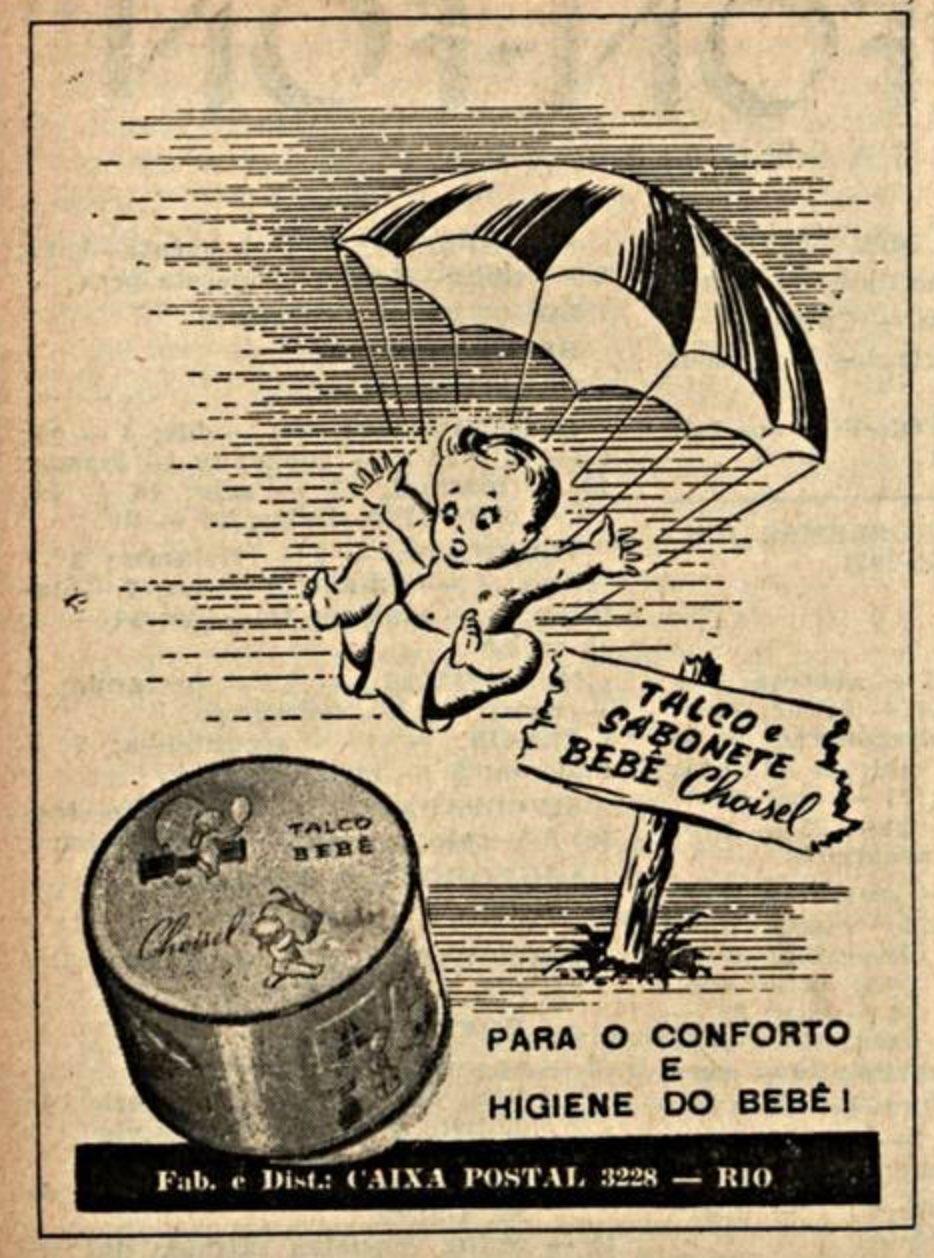 Propaganda antiga da linha de talcos e sabonetes da Choisel veiculada em 1951