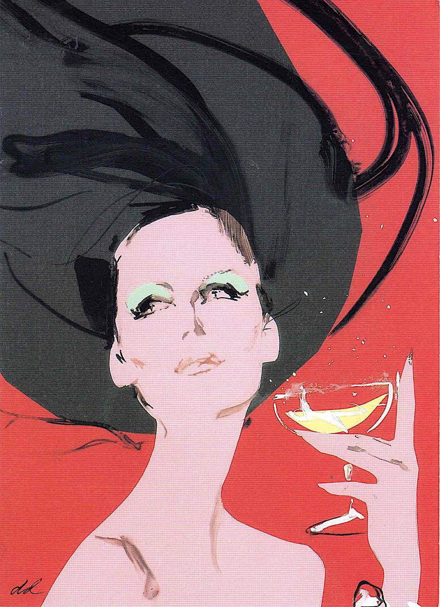David Downton, a windswept woman with champagne