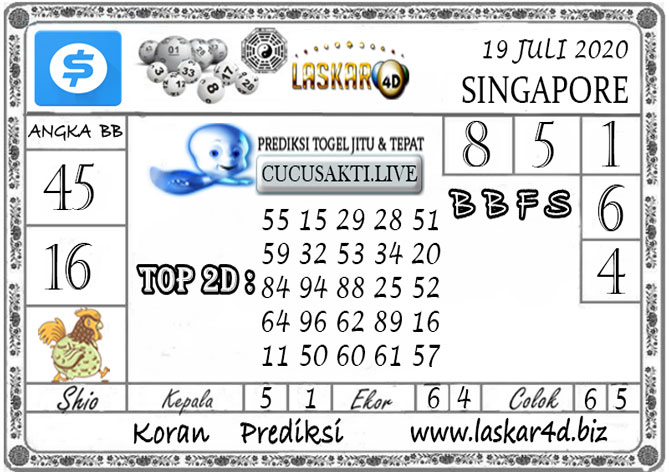 Prediksi Togel SINGAPORE LASKAR4D 19 JULI 2020
