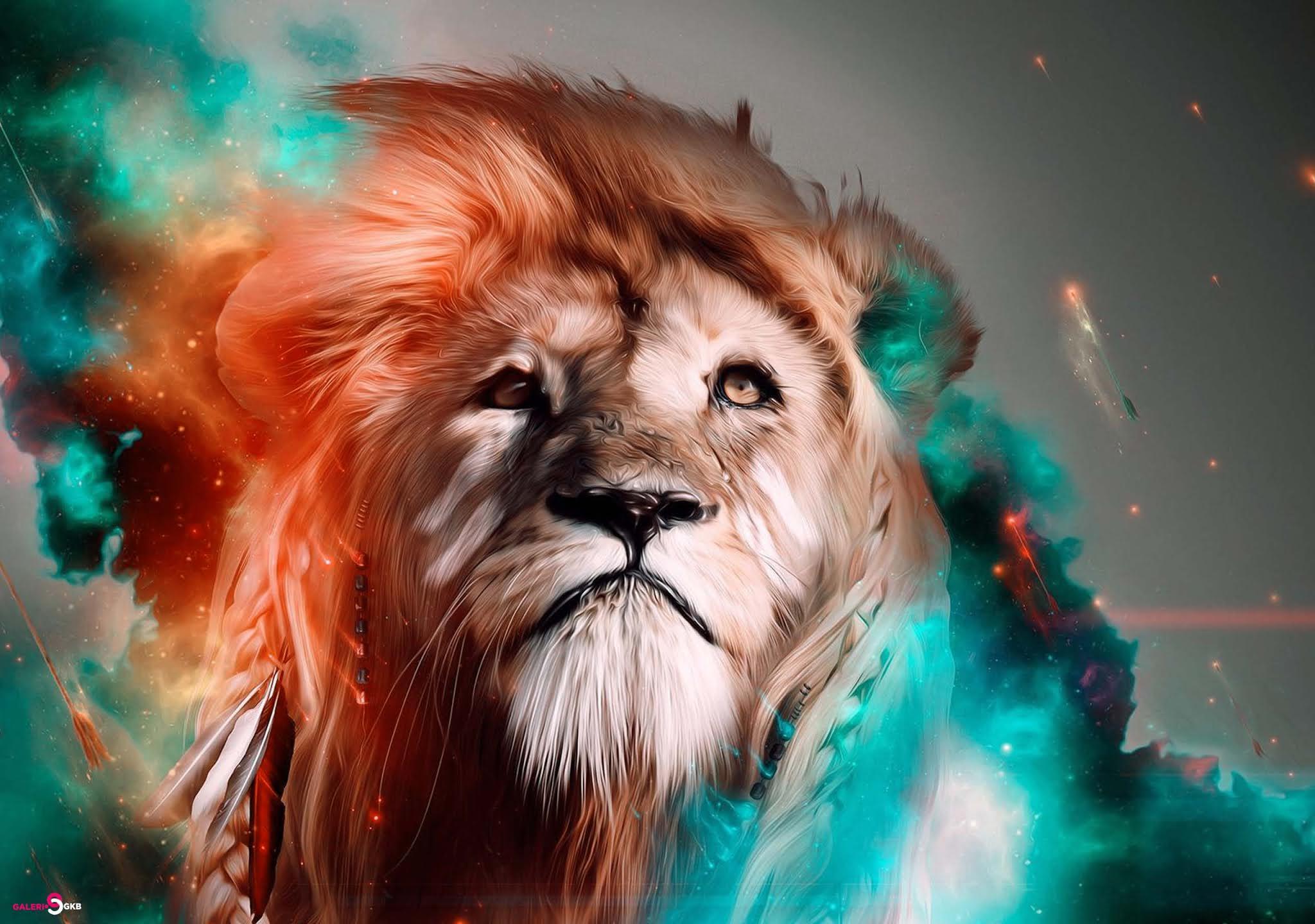 34 Grapich Lion Wallpaper HD, Lion Art Colorfull Wallpaper For Desktop PC