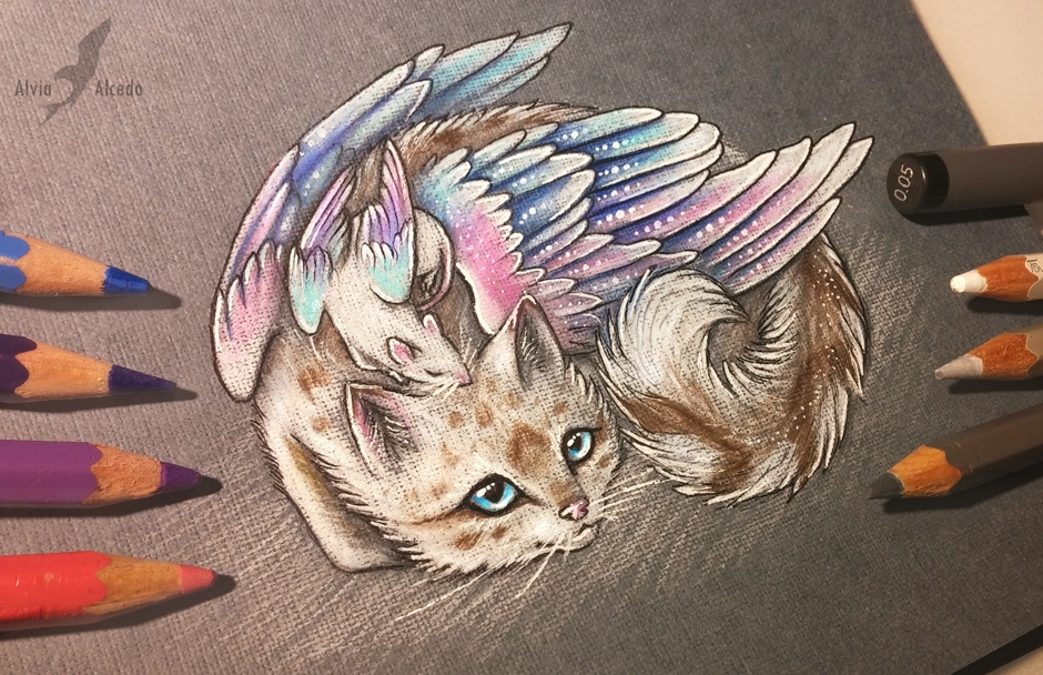 13-Ratty-and-kitty-Alvia-Alcedo-Dragon-and-other-Mythical-Fantasy-Drawings-www-designstack-co