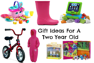 Small image that links to 'Gift Guide For 2 Year Olds' The image shows a balance bike, A all in one waterproof suit, a pair of wellington boots, busy books, sylvanian families,  a Leapfrog Till and a Leapfrog Picnic Basket