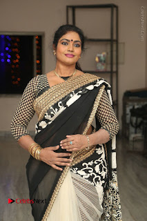 Telugu Actress Jayavani Jayavani Stills in Black Saree at Intlo Deyyam Nakem Bhayam Success Meet  0035.JPG