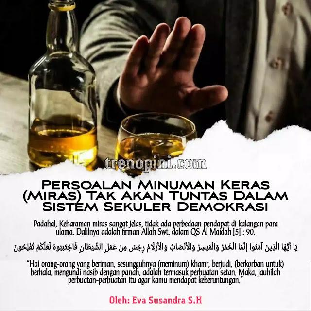 "Keharaman miras sangat jelas, tidak ada perbedaan pendapat di kalangan para ulama. Dalilnya adalah firman Allah Swt. dalam QS Al Maidah [5] : 90.  يَا أَيُّهَا الَّذِينَ آمَنُوا إِنَّمَا الْخَمْرُ وَالْمَيْسِرُ وَالْأَنْصَابُ وَالْأَزْلَامُ رِجْسٌ مِنْ عَمَلِ الشَّيْطَانِ فَاجْتَنِبُوهُ لَعَلَّكُمْ تُفْلِحُونَ  ""Hai orang-orang yang beriman, sesungguhnya (meminum) khamr, berjudi, (berkorban untuk) berhala, mengundi nasib dengan panah, adalah termasuk perbuatan setan. Maka, jauhilah perbuatan-perbuatan itu agar kamu mendapat keberuntungan."""