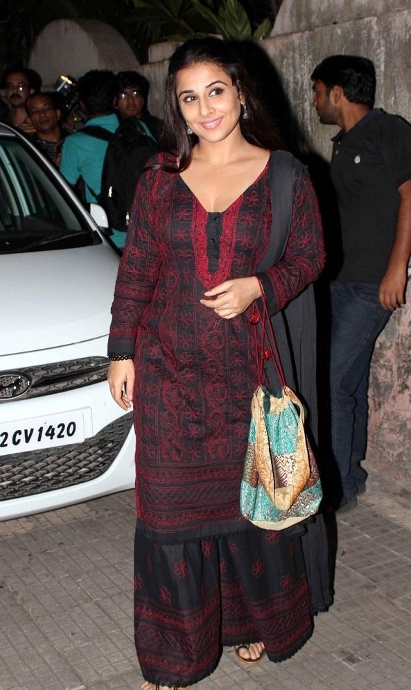 Actress Vidya balan In Maroon Dress At Special Screening