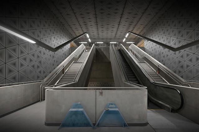 Les accès de la « Station Saint-Germain » pour la ligne B du métro de Rennes...