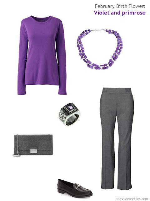 wearing violet with grey