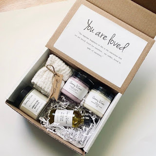 """small box with care items, the lid says """"you are loved"""""""