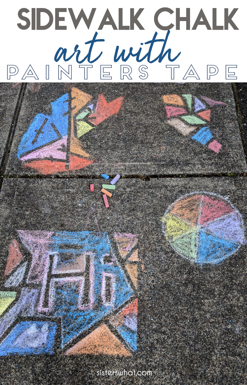 sidewalk chalk art with painters tape