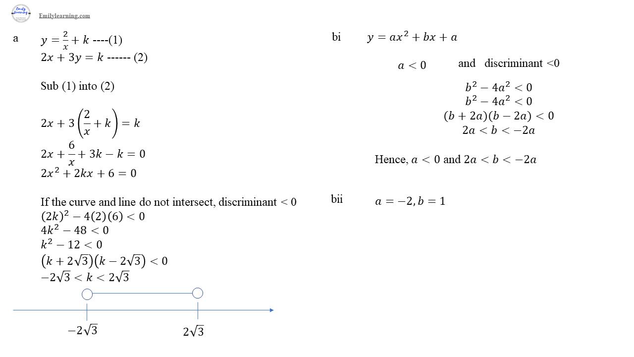 O level additional mathematics specimen paper 2 question 4 - quadratic functions (discriminant and solving quadratic inequalities)