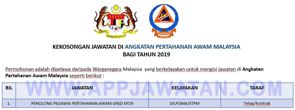 Jawatan Kosong Terkini Di Angkatan Pertahanan Awam Malaysia Appjawatan Malaysia
