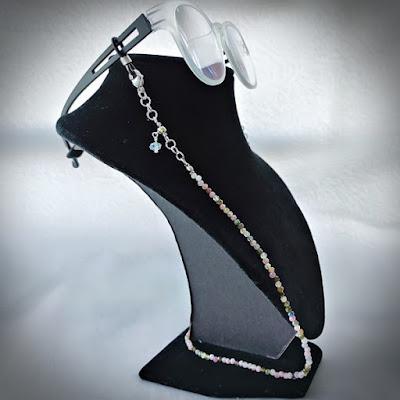 Tourmaline eyeglasses / face mask chain cum necklace cum layered bracelet