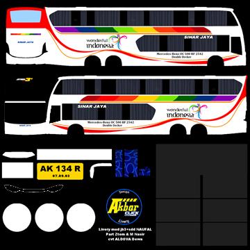 livery sinar jaya jb3+sdd voyager bussid