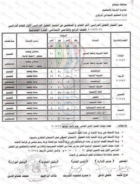 جدول امتحانات الصف الرابع الابتدائي 2017 الترم الثاني محافظة سوهاج
