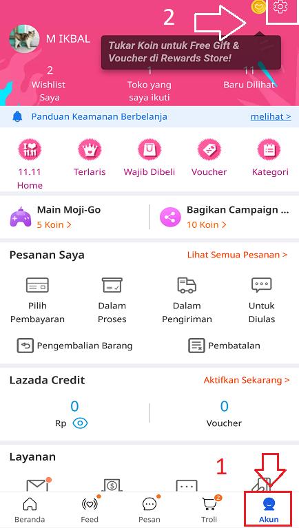 Pengaturan Akun Lazada di Halaman Akun Aplikasi Marketplace Lazada.