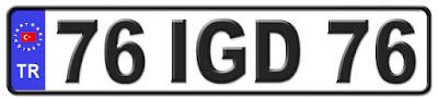 Iğdır il isminin kısaltma harflerinden oluşan 76 IGD 76 kodlu Iğdır plaka örneği