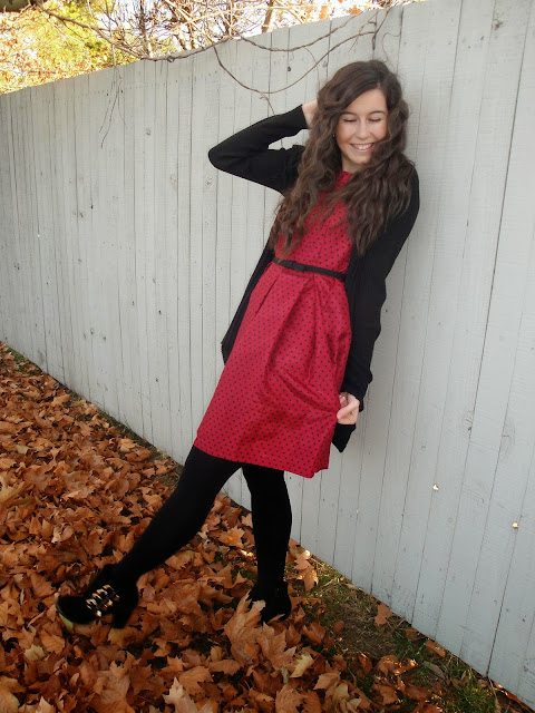 polka dot dress, fall wear, winter wear, heels, polka dot, fit and flare, dress, dressy, bow necklace, pretty, pretty dress,